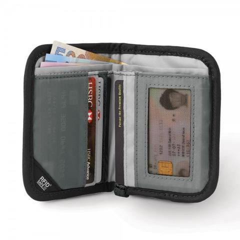 PACSAFE RFIDSAFE V50 RFID BLOCKING COMPACT WALLET - BLACK