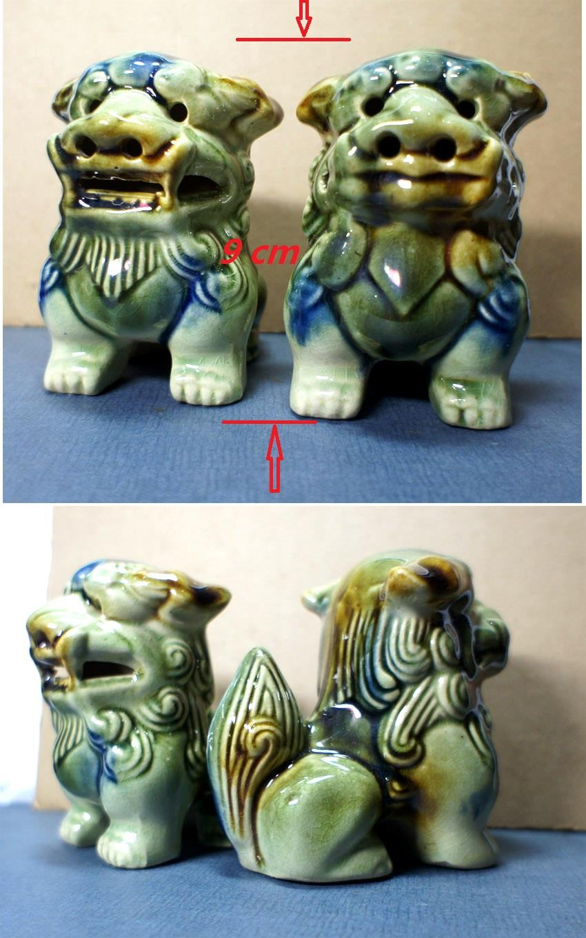 Pair Of Old Feng Shui Ceramic Guardian Lion.风水瓷&#..