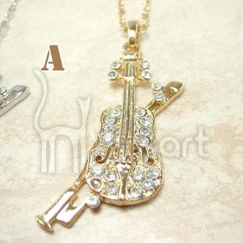 The Palace style Diamond Violin Music Pendant Necklace