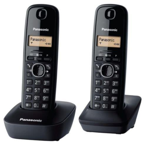 Panasonic Twin Cordless DECT Phone, KX-TG1612ML (Black)