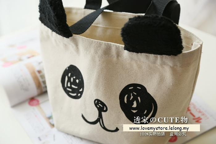Panda Canvas Lunch Box Bag Ready Stock