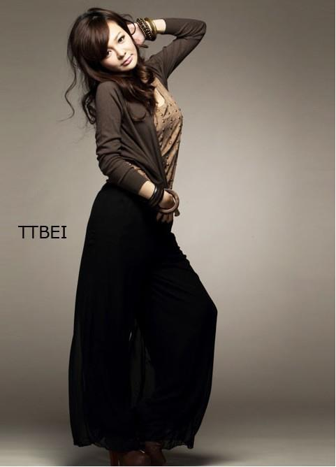 Pants-Korean Hot elastic waist wide-leg chiffon casual trousers 4560