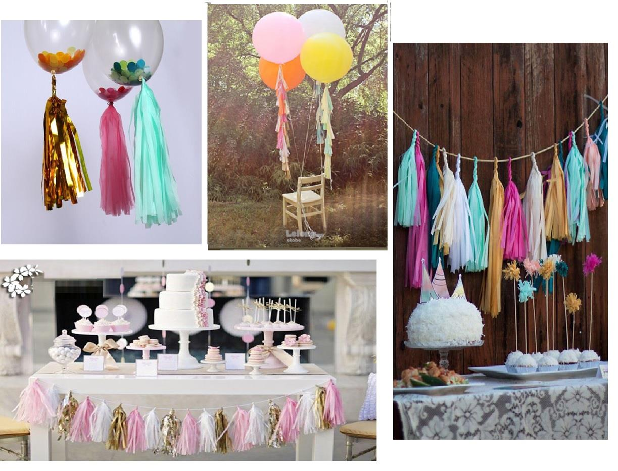 Paper tassel garland for party decoration or bubble balloon