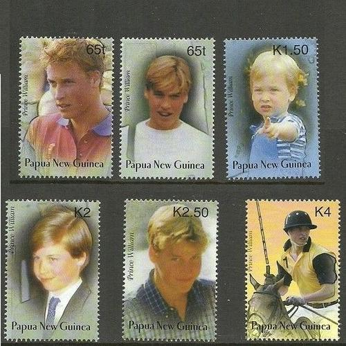Papua New Guinea 2002 Prince William 21st birthday 6 pcs stamps mnh