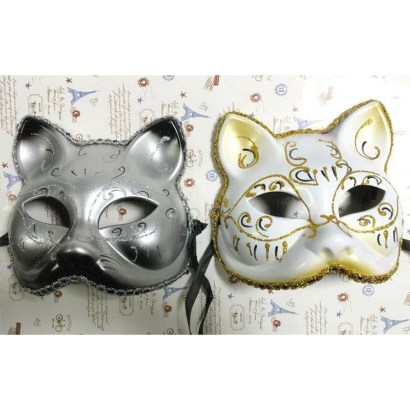 Party mask,Halloween mask, painted cat face mask (2 pieces),Costume