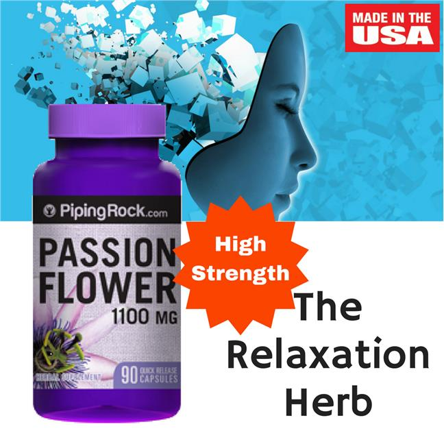 Passion Flower 1100 mg 90 Capsules (PMS, Anxiety, Melatonin, Sleep)