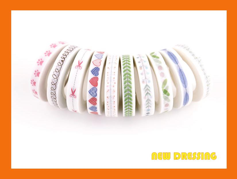 Pastel Slim Washi Tape (10 Rolls) V1 - Zakka/Diary/Photobook DIY