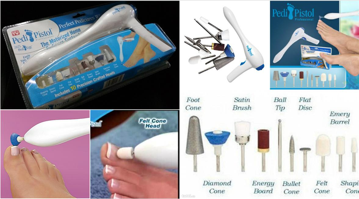 PEDI PISTOL HOME PEDICURE SYSTEM SKIN NAILS TOE TREATMENT WITH 10CRAFT