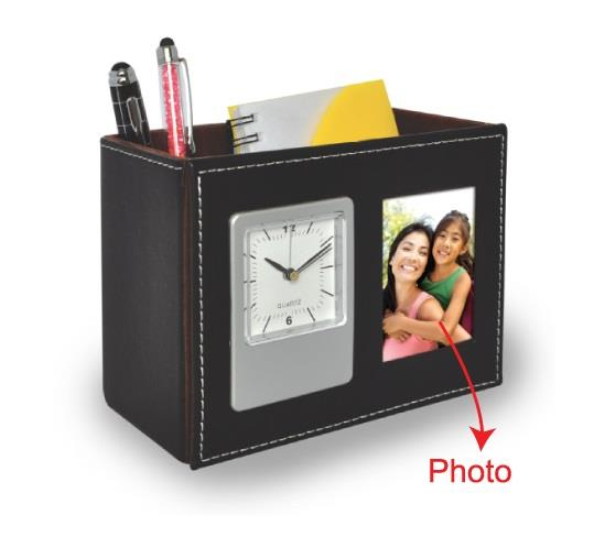 Pen Holder with Clock and Photo Frame