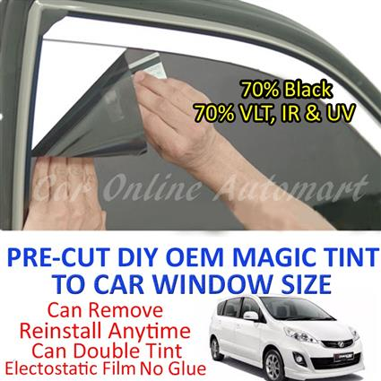 Perodua Alza Magic Tinted Solar Window ( 6 Windows ) 70% Black