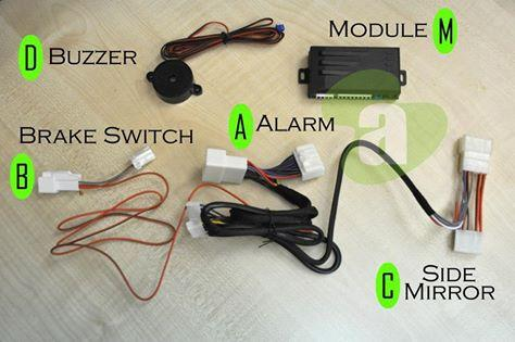 Perodua Axia 4in1 Alarm Buzzer + Foot Brake Lock + Mirror Auto Fold