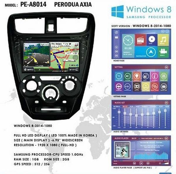 "PERODUA AXIA 8"" Full HD Double Din GPS DVD MP3 CD SD USB BT TV Player"