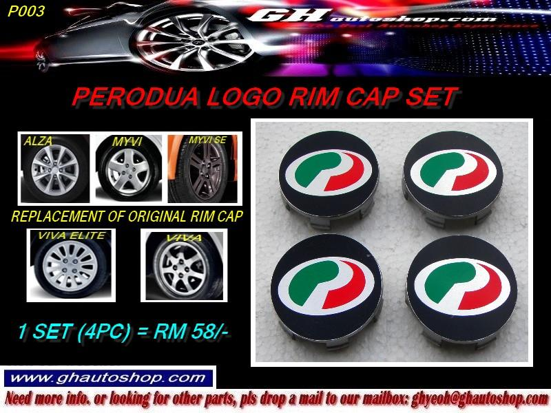 PERODUA LOGO RIM CAP SET (4PC) FOR MYVI, VIVA & ALZA ORIGINAL RIMS