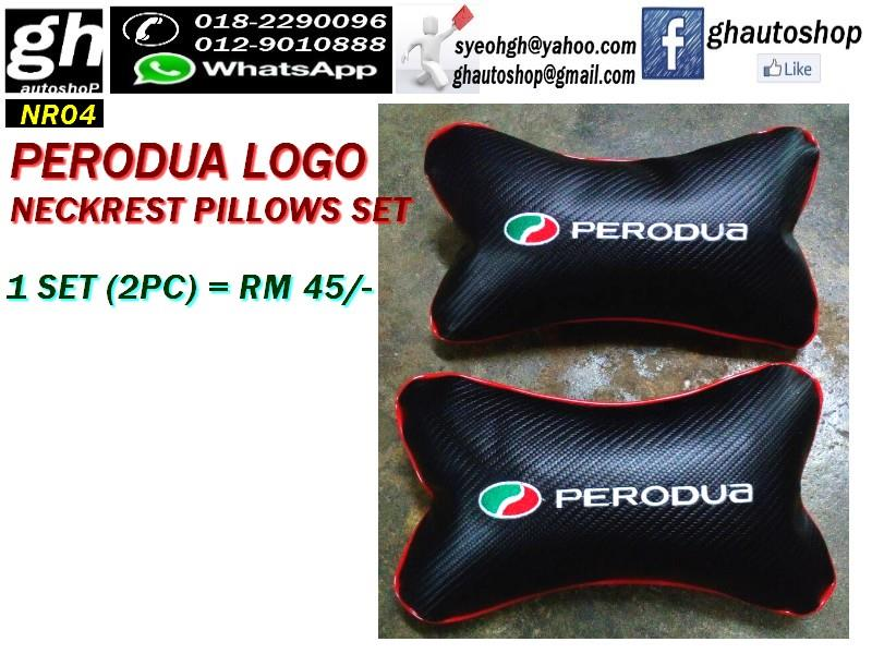 PERODUA LOGO SPORTY NECKREST PILLOWS SET NR04 (2PC)