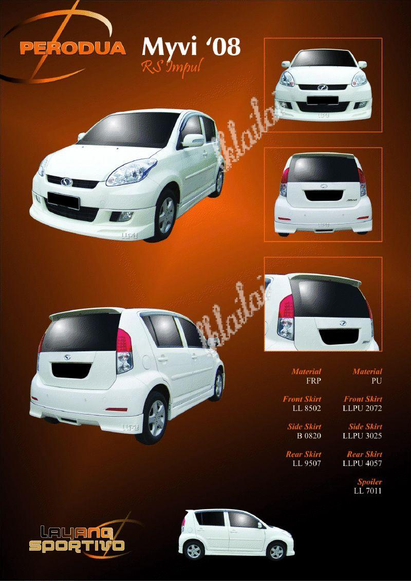 Perodua Myvi '08 Impul Style Full Set Skirting Body Kit [Fiber Materia