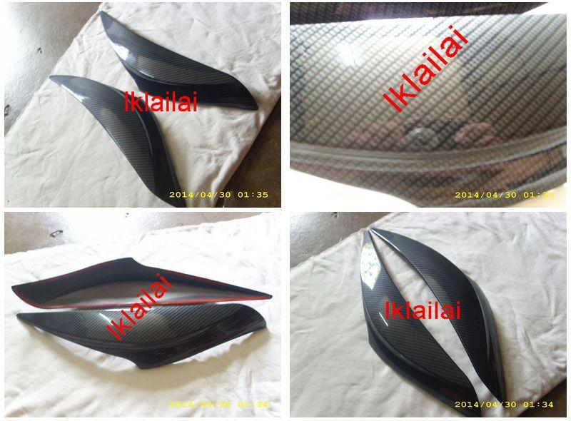 Perodua Myvi '11 Head Lamp Eye Lip /  Lids Cover Carbon Type