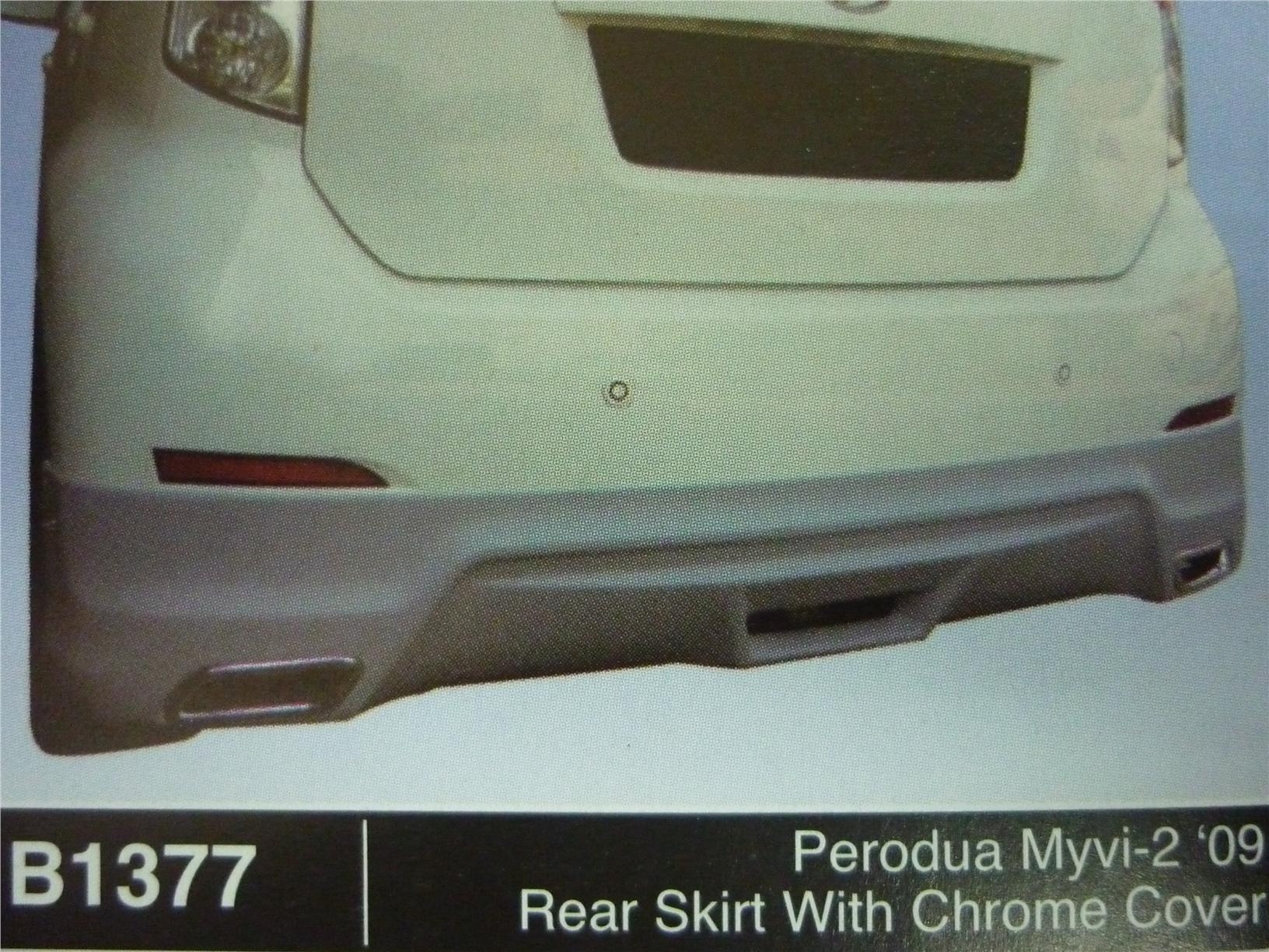PERODUA MYVI 2 2009 REAR SKIRT WITH CHROME COVER B1377