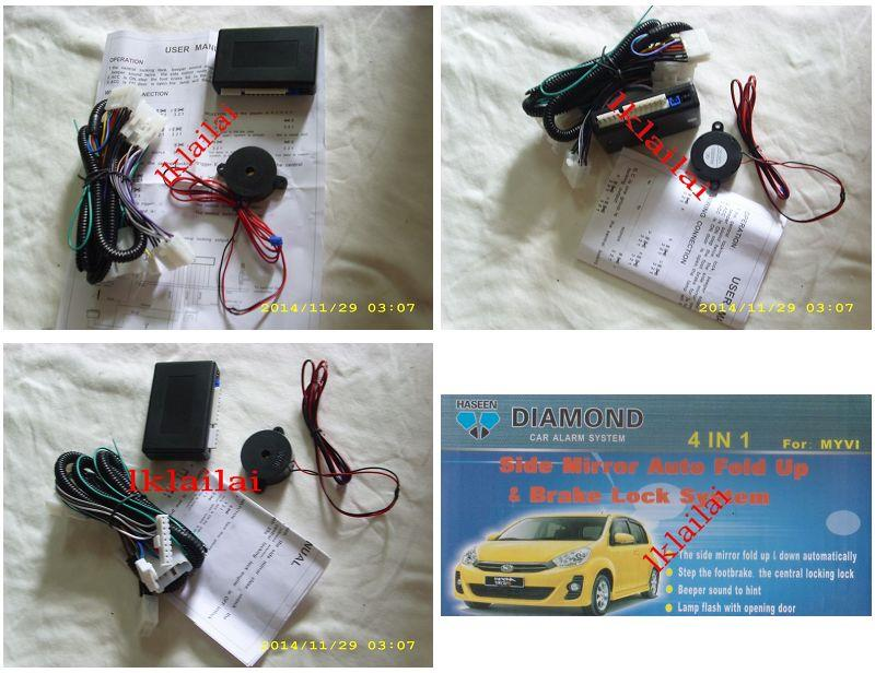 Perodua Myvi/Alza 4 in 1 Mirror Auto Fold.Brake Lock/Buzzer/Double Sig