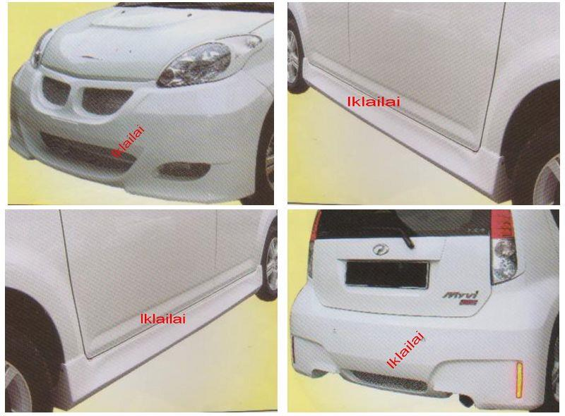 Perodua MYVI E60 M5 [Front + Rear Bumper + Side Skirt] Body Kit FIBER