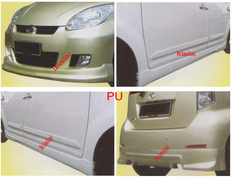 Perodua Myvi SEE Full Set Skirting BodyKit Front+Side+Rear Skirt FIBER