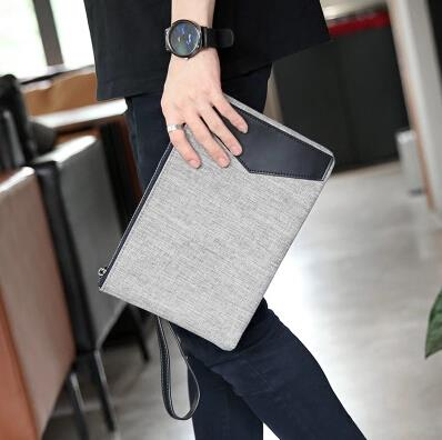 Personalized canvas grey men clutch bag