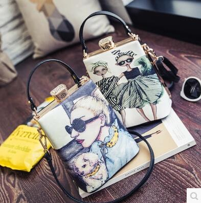 Personalized character printing handbag shoulder diagonal package