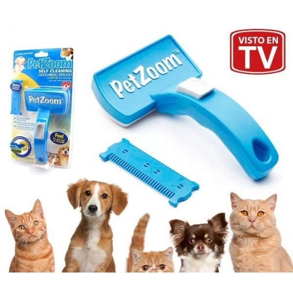 Pet Zoom: Self Cleaning Grooming Brush w/ Bonus Pet Trimmer Attachment
