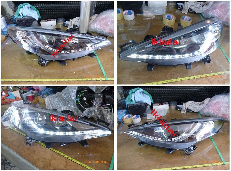 PEUGEOT 207 2D Projector Head Lamp LED DRL R8 [Black Housing]