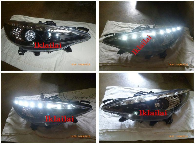 PEUGEOT 207 Projector Head Lamp LED DRL R8 Corner [Black Housing]