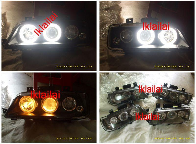 Peugeot 405 Crystal Projector LED Ring Head Lamp [Black]