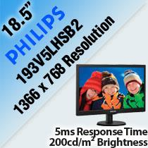 "PHILIPS 193V5LHSB2 18.5"" LED MONITOR"