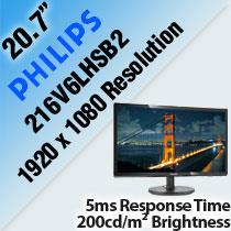 "PHILIPS 216V6LHSB2 20.7"" LED MONITOR"