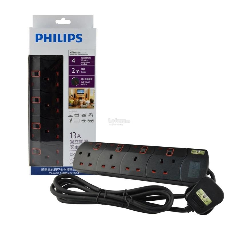 Philips 4 Gang Way Individual Switch Power Extension Plug Socket Black