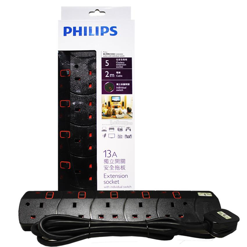 Philips 5 Gang Way with Individual Switch Power Extension Plug Sockets
