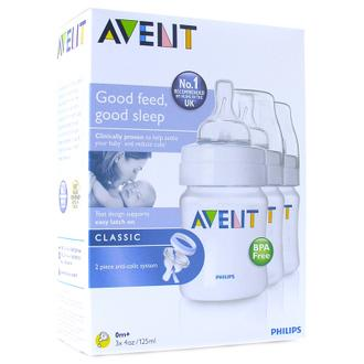 Philips AVENT - CLASSIC 3x Feeding Bottles 4oz/125ml