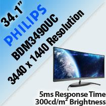 "PHILIPS BDM3490UC 34.1"" CURVED LED MONITOR"