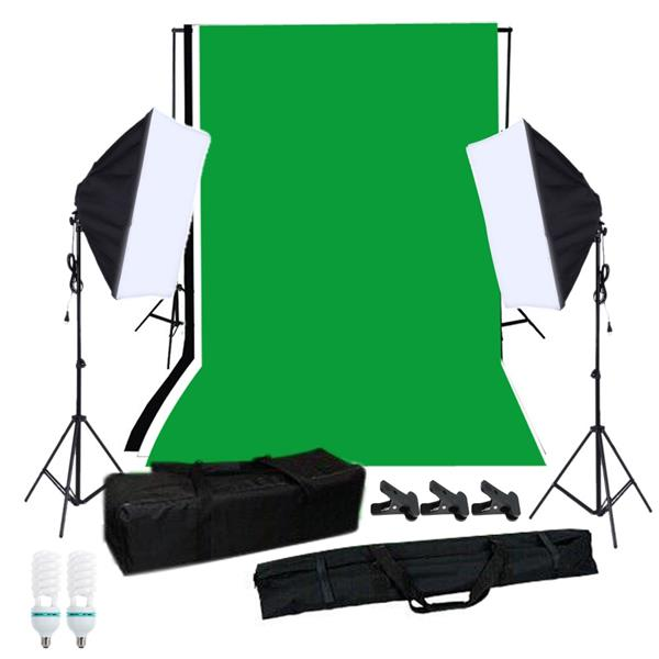 Photography Softbox Lighting Kit with Studio Background