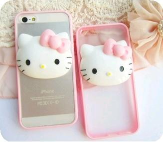 Pink 3D Hello Kitty Phone Casing Case Cover iPhone Samsung