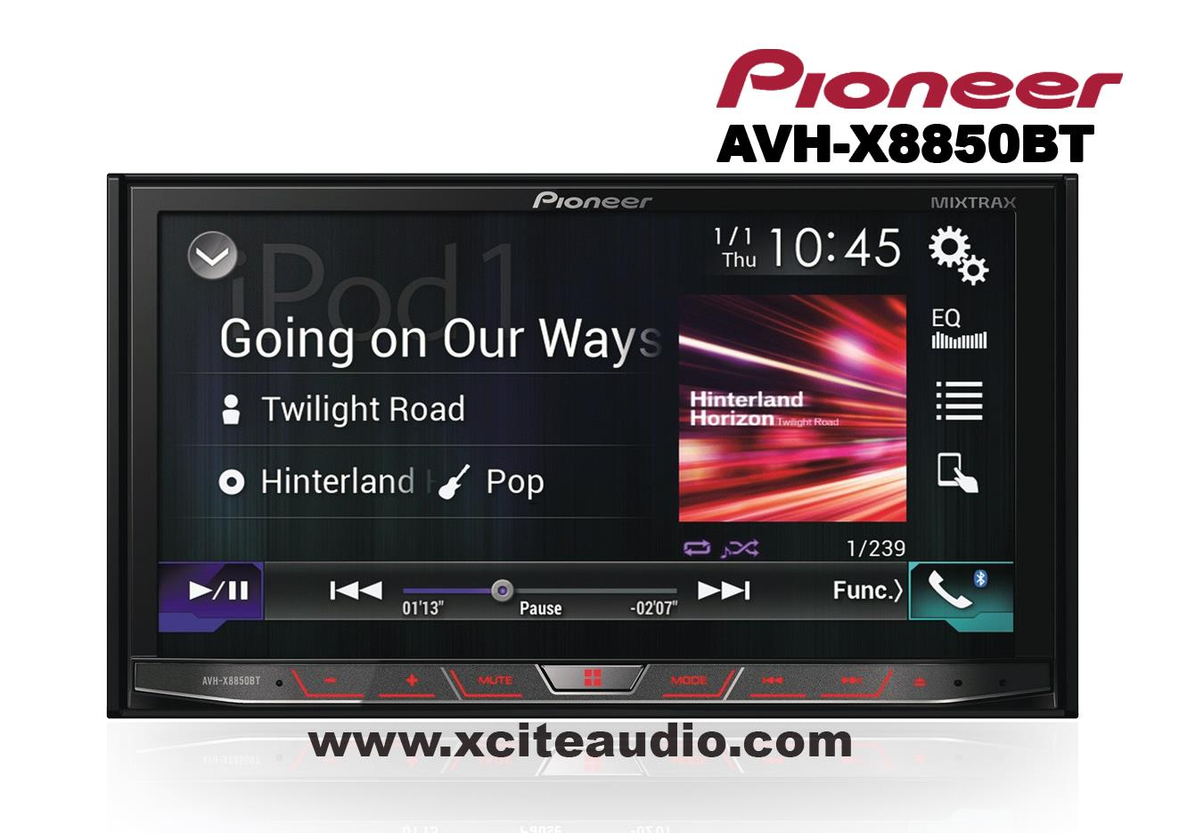 Pioneer AVH-X8850BT 7' WVGA Touchscreen Display MIXTRAX Bluetooth