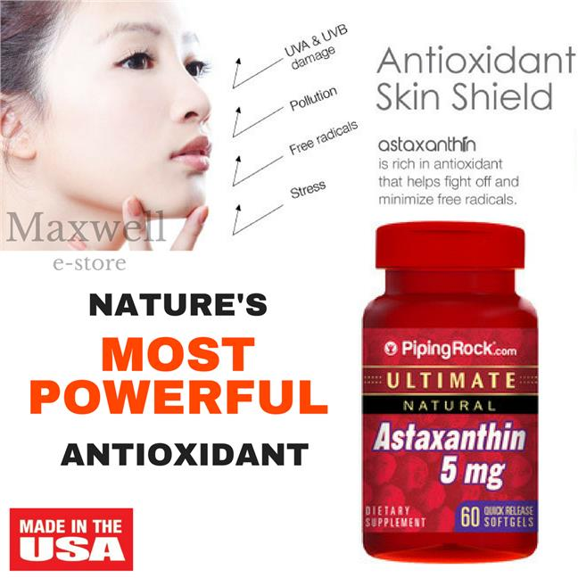 Piping Rock, Astaxanthin 5 mg 60 Softgels (Antioxidant)
