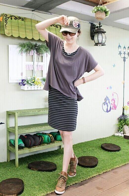Plain & Stripe 2 Piece Dress (iKR053055)