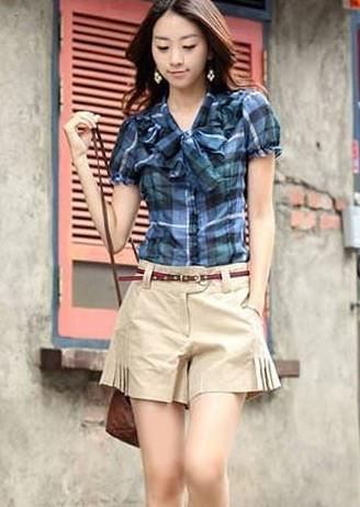 Plated Shorts-With Belt (Apricot)