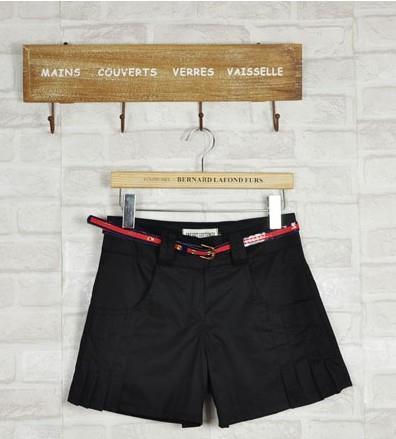 Plated Shorts-With Belt (Black)