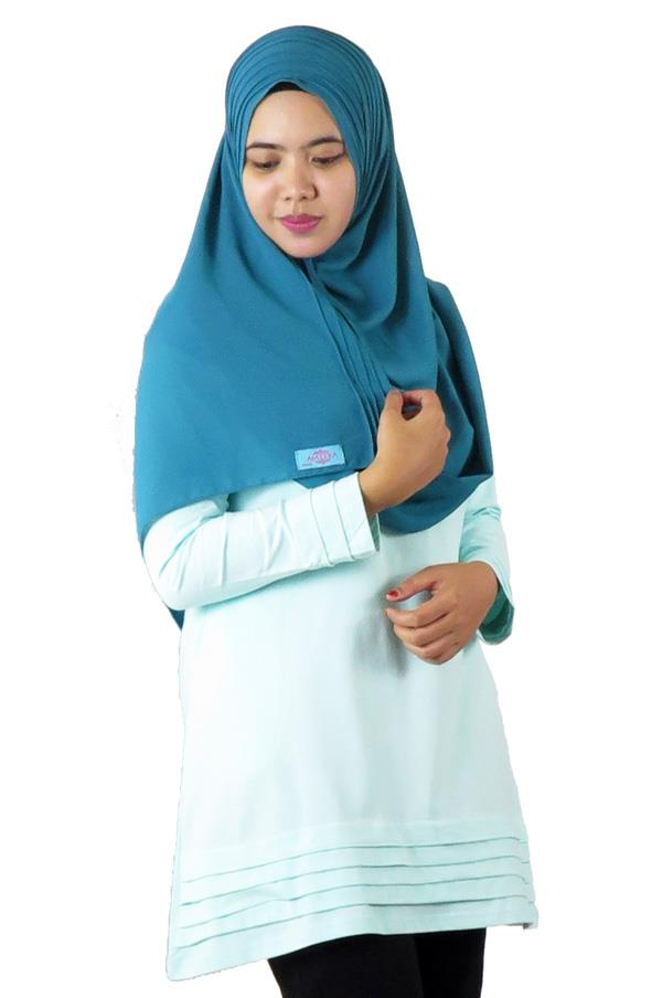Pleat Layer Top / Blouse - Baby Blue (aq894e)