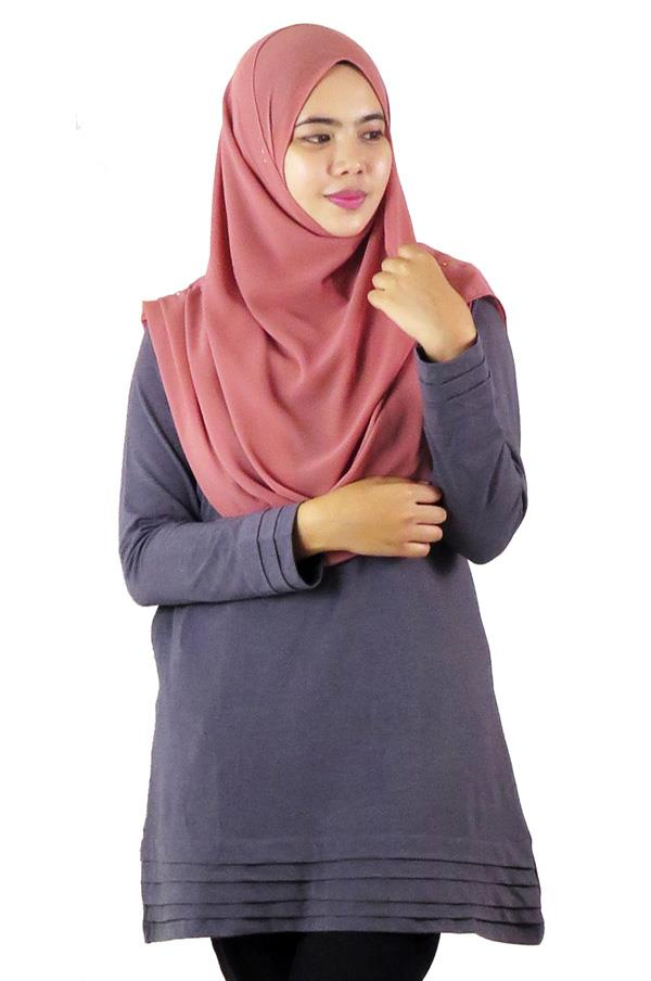 Pleat Layer Top / Blouse - Grey (aq894i)