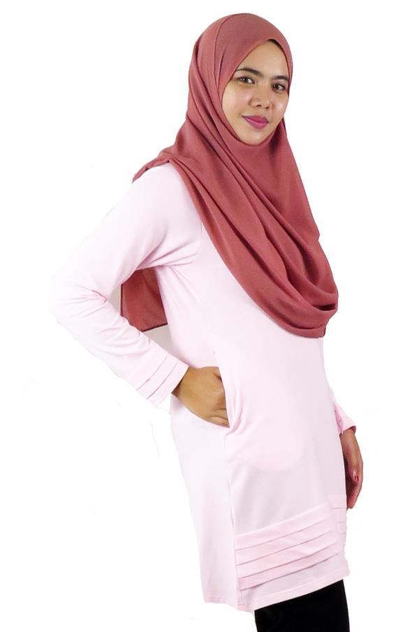 Pleat Layer Top / Blouse � Pink (aq894c)