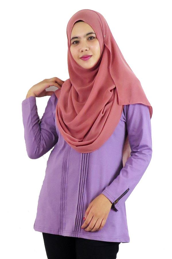 Pleat Top / Blouse – Pale Lilac (aq891d)