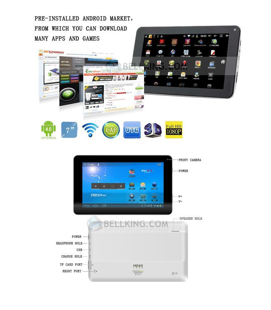 Ployer MOMO III 7 Inc Android 4.0.3 Tablet PC Allwiner A13 8Gb Interna..