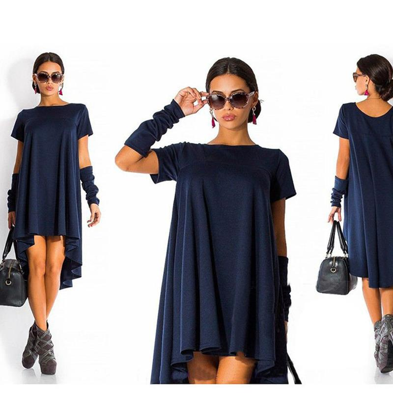 Plus Size S-2XL ~ Euro Fashion Short Sleeve Fair Dress in 3 Colors