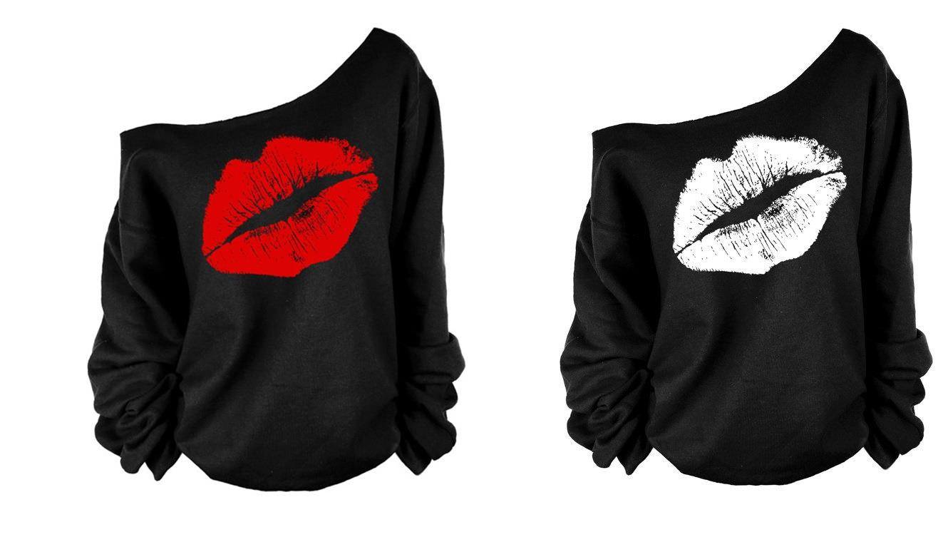 Plus Size S-3XL ~ Sexy Lips Long Sleeve Ladies Top